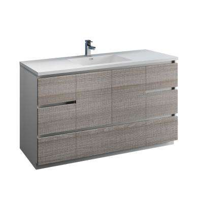 Lazzaro 60 in. Modern Bathroom Vanity in Glossy Ash Gray with Vanity Top in White with White Basin