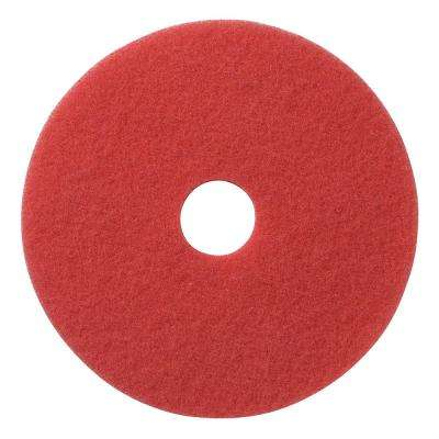 17 in. Red Daily Floor Cleaning and Buffing Pad (5-Pack)