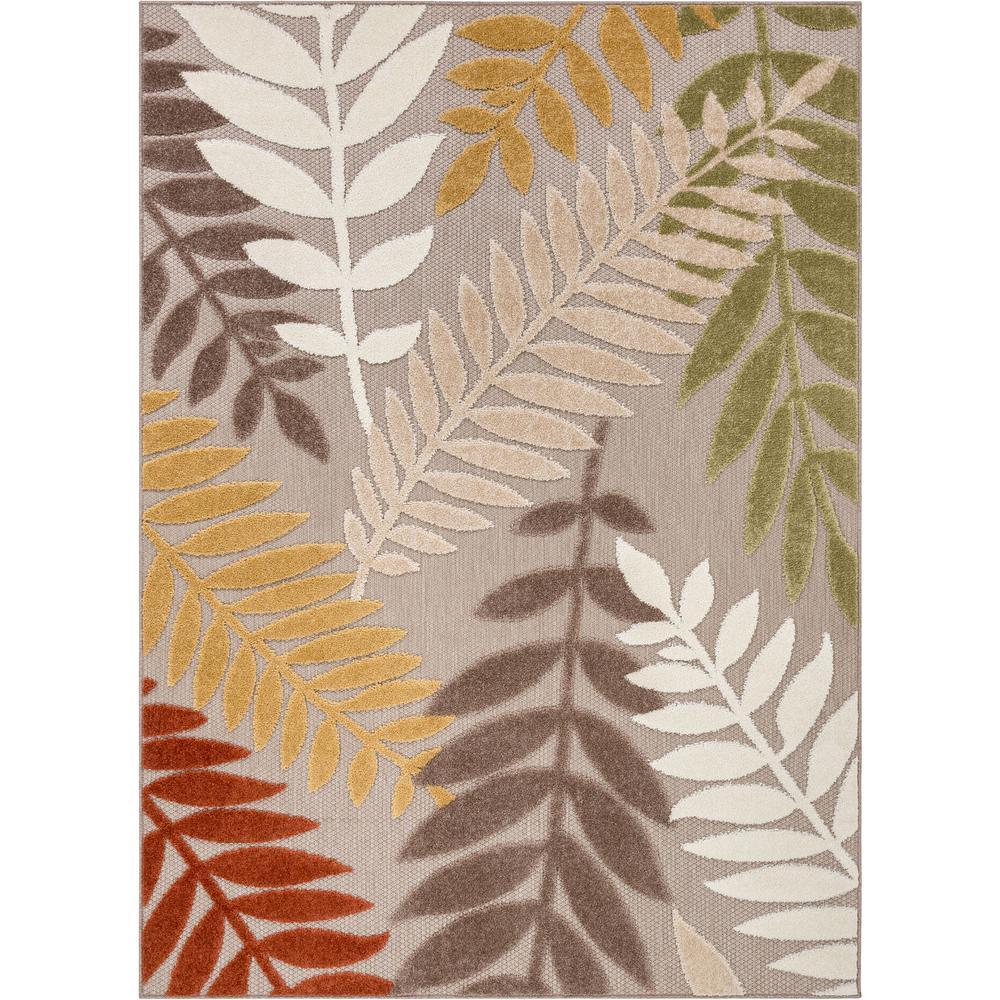 Dorado Mariah Modern Tropical Leaves Beige Hight-Low Indoor/Outdoor 5 ft. 3 in. x 7 ft. 3 in. Area Rug