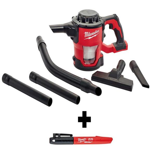 M18 18-Volt Lithium-Ion Cordless Compact Vacuum with INKZALL Black Fine Point Jobsite Marker
