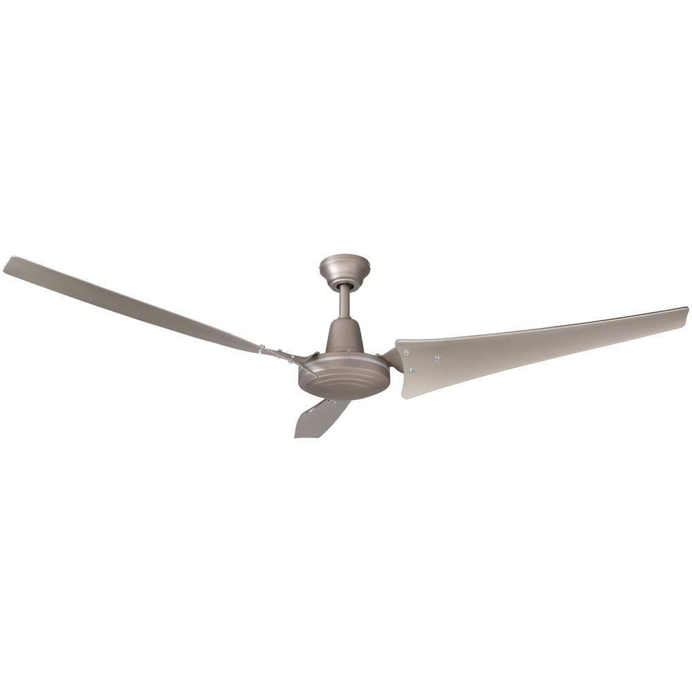 Indoor Brushed Steel Ceiling Fan With Wall Control