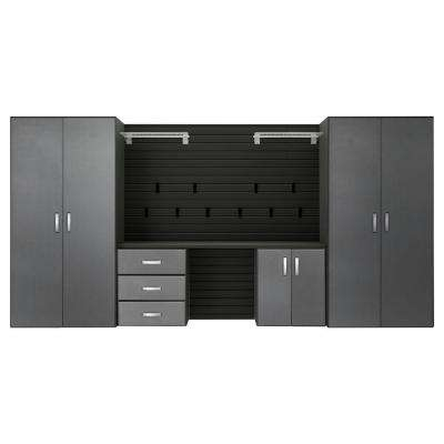 Modular Wall Mounted Garage Cabinet Storage Set with Workstation/Accessories in Black/Graphite Carbon Fiber (5-Piece)