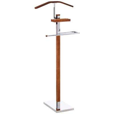 18 in. x 44 in. Chrome / Tabacco Metal / Wood Valet Stand