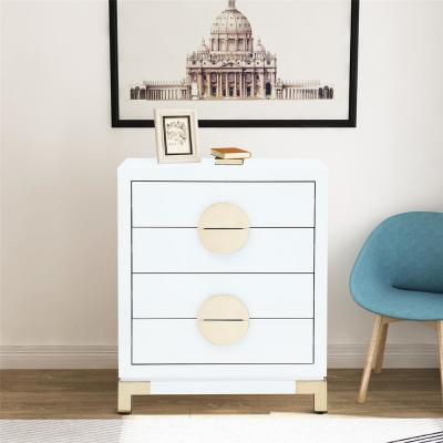 32 in. 4-Drawer Beige MDF High Gloss Chest with Golden Stand
