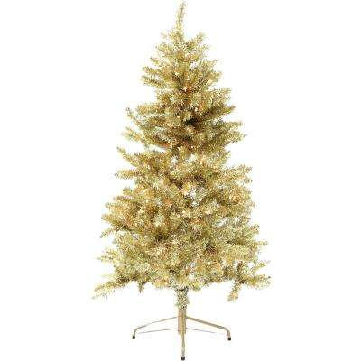 5 ft. LED Festive Gold Tinsel Christmas Tree with Clear Lighting