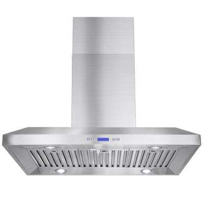 36 in. Convertible Kitchen Island Mount Range Hood in Stainless Steel with LEDs