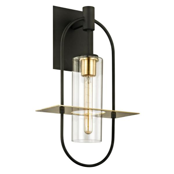 Smyth 1-Light Dark Bronze 22 in. H Outdoor Wall Lantern Sconce with Clear Glass