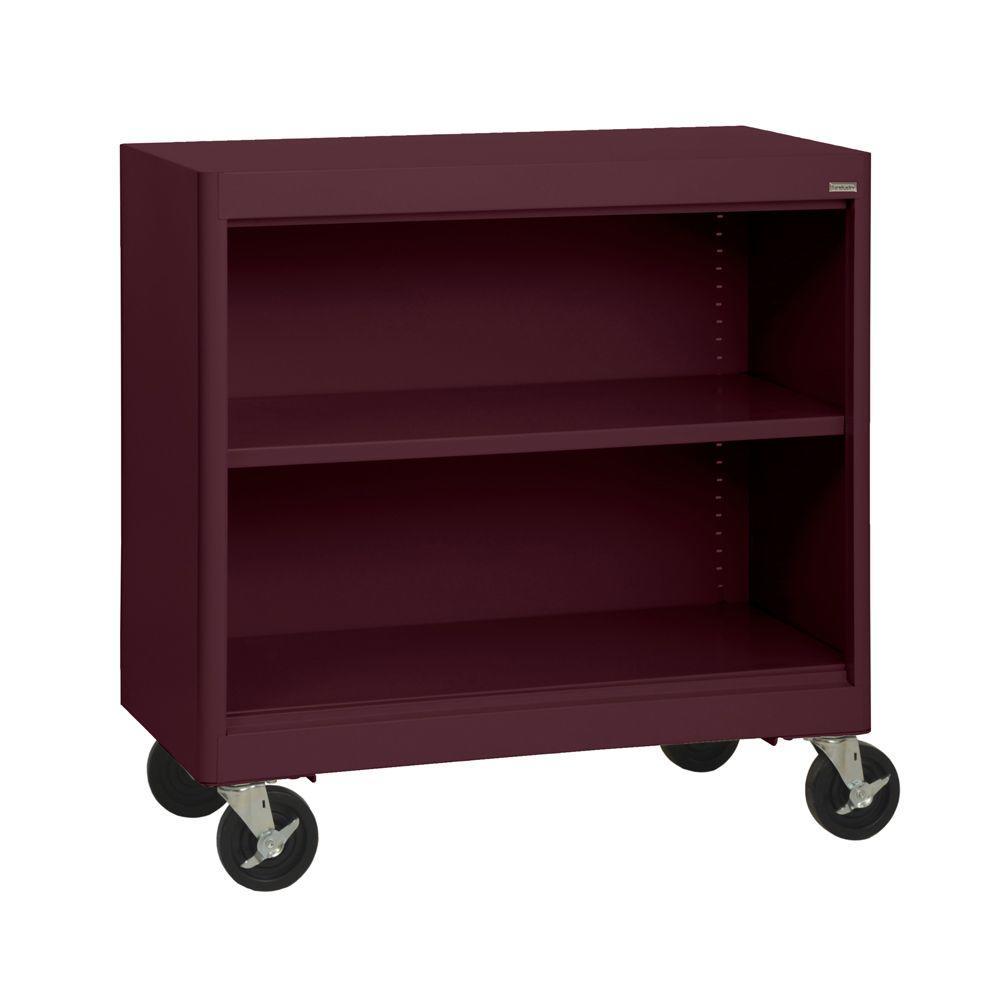 Radius Edge Burgundy Mobile Steel Bookcase
