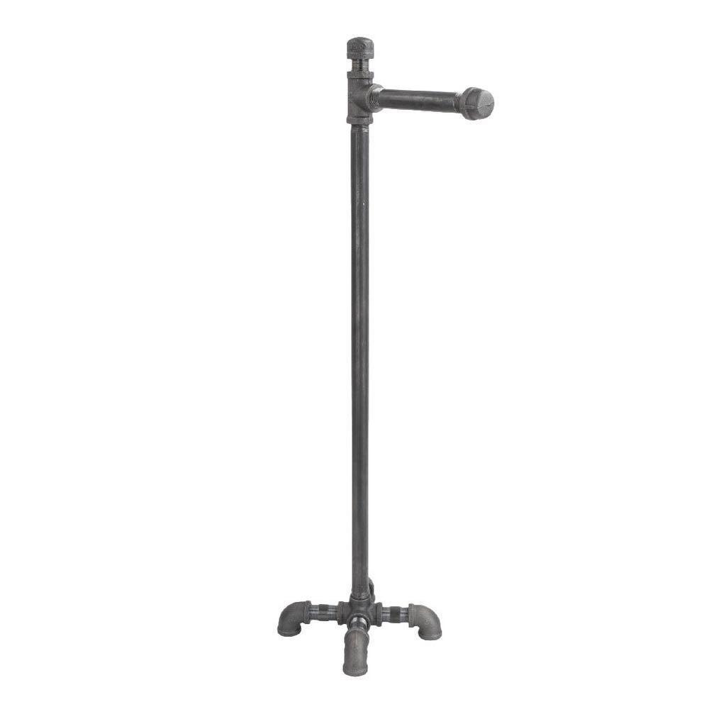 1/2 in. x 2.4 ft. L  Black Steel Pipe Freestanding Toilet Paper Holder Kit