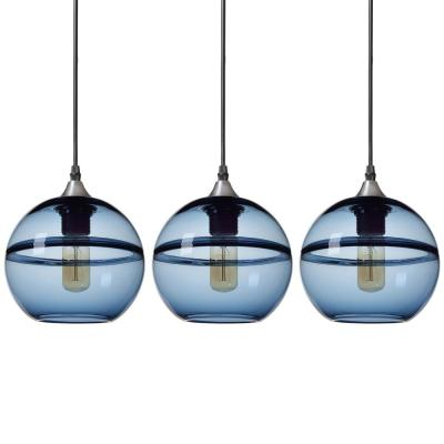 """7 in. H 1-Light Unique Optic Contemporary Nickel """"DoubleEyelid"""" Hand Blown Blue Glass Shade Pendant (Pack of 3)"""