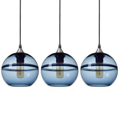 "7 in. H 1-Light Unique Optic Contemporary Nickel ""DoubleEyelid"" Hand Blown Blue Glass Shade Pendant (Pack of 3)"