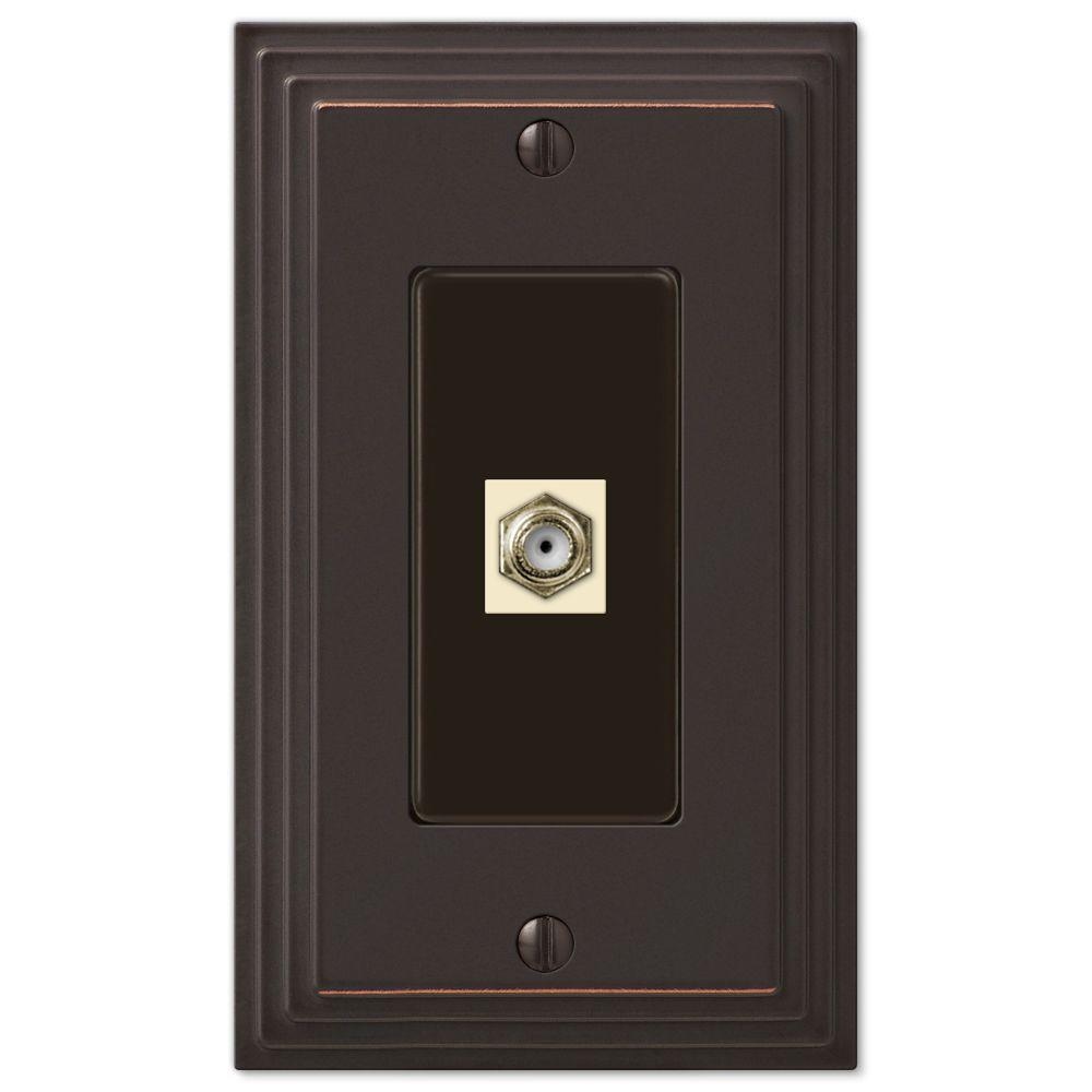 AMERELLE Tiered 1 Gang Coax Metal Wall Plate - Aged Bronze