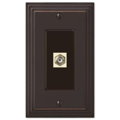 Tiered 1 Gang Coax Metal Wall Plate - Aged Bronze