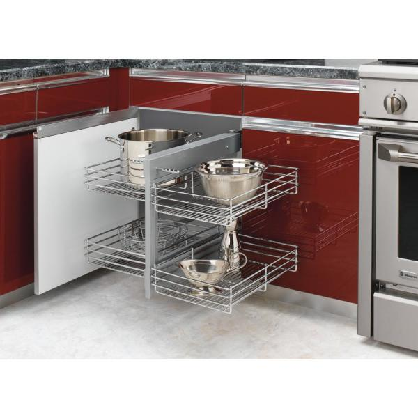 Rev A Shelf 21 In H X 26 25 In W X 20 25 In D Blind Corner Cabinet Pull Out Chrome 2 Tier Wire Basket Organizer 5psp 15 Cr The Home Depot