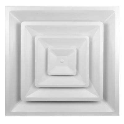 24 in. x 24 in. Square T-Bar 3 Cone Step Down Drop Ceiling 4-Way Diffuser with 14 in. Neck/Collar