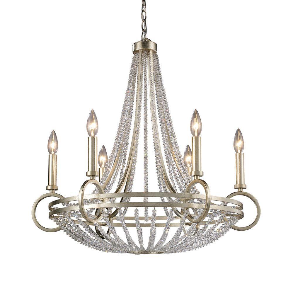 New York 6-Light Renaissance Silver Ceiling Mount Chandelier