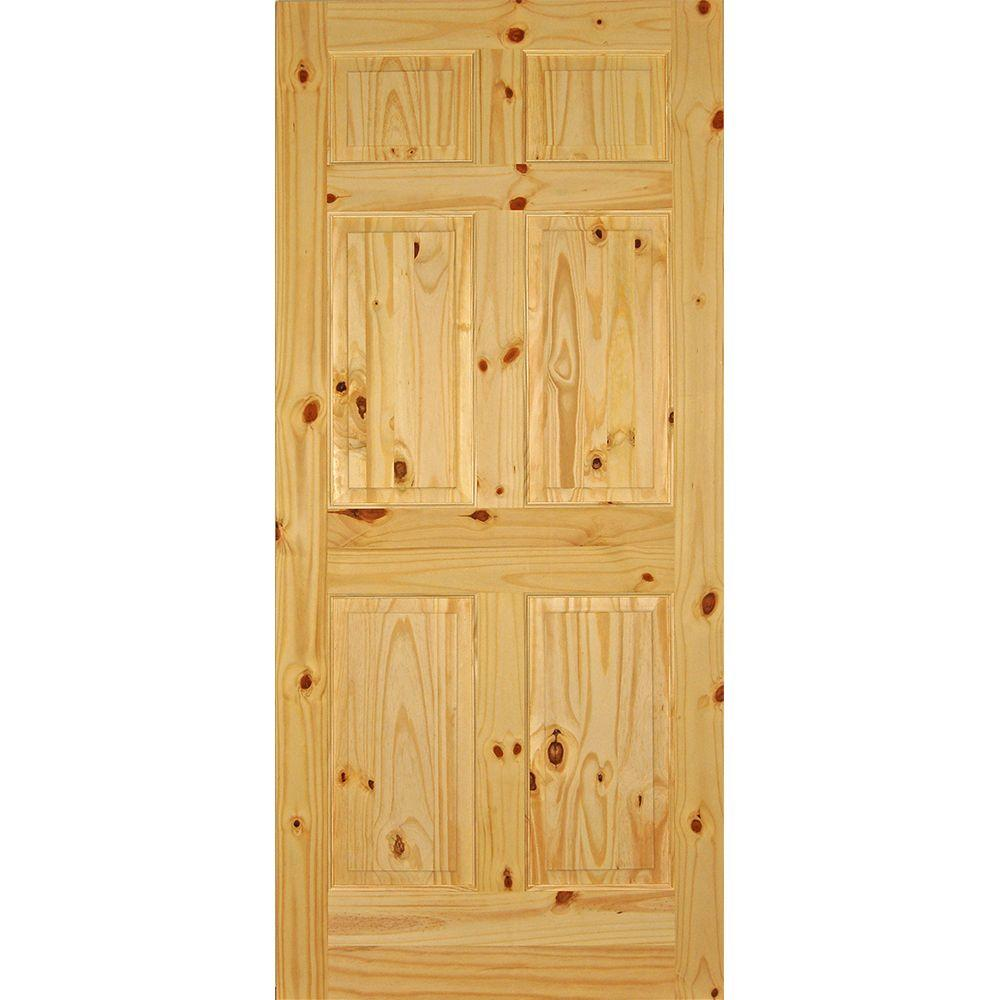 Knotty Pine Cabinet Doors: Builders Choice 36 In. X 80 In. 6-Panel Solid Core Knotty
