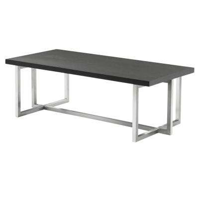 Armen Living Grey Wood Top Contemporary Rectangular Coffee Table in Brushed Stainless Steel