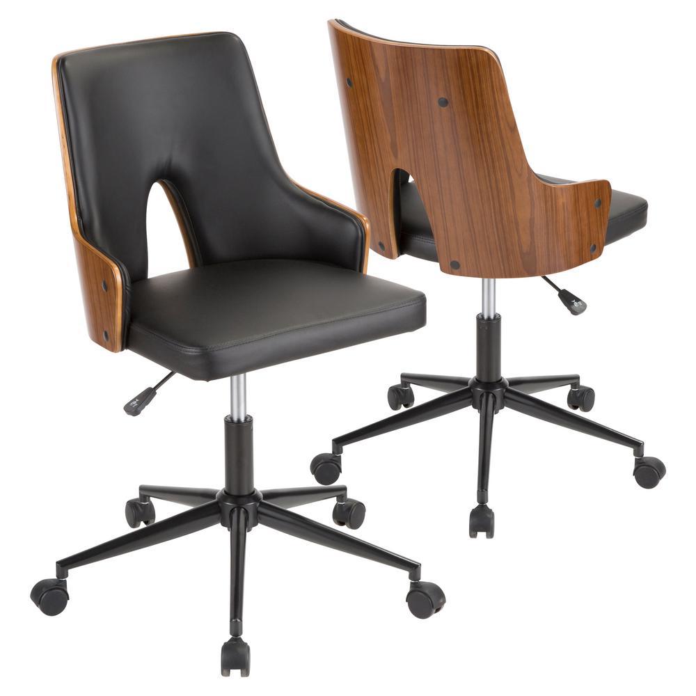 Lumisource Stella Walnut and Black Faux Leather Office Chair OC-STLA WL+BK