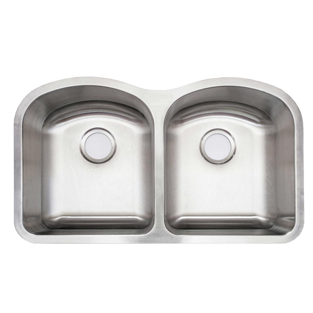 glacier bay undermount stainless steel 32 in double bowl kitchen sink with drain strainer - Kitchen Sink Drain Strainer