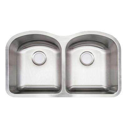 Undermount Stainless Steel 32 in. Double Bowl Kitchen Sink with Drain, Strainer and Grid