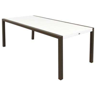 Surf City 36 in. x 73 in. Textured Bronze Patio Dining Table with Classic White Top
