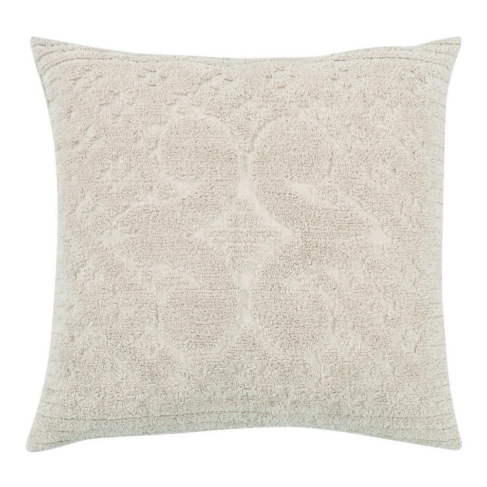 Ashton Collection in Medallion Design Ivory Euro 100% Cotton Tufted Chenille Sham