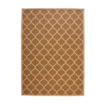 Trellis Tan Natural Sisal Flat Woven Weave 5 ft. x 7 ft. Indoor/Outdoor Area Rug