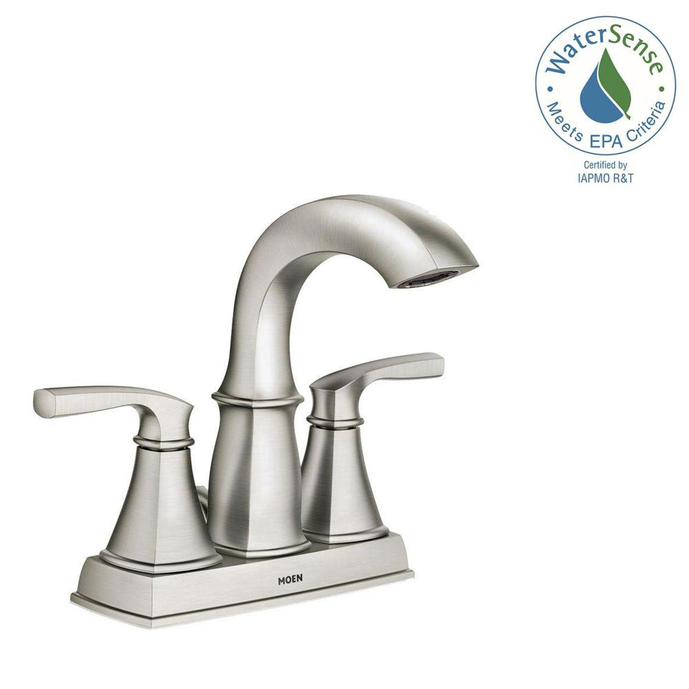 Moen Hensley 4 In Centerset 2 Handle Bathroom Faucet Featuring Microban Protection Spot