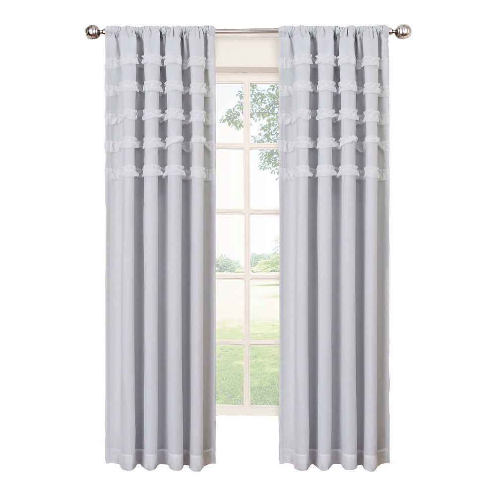 Ruffle Batiste Blackout Window Curtain Panel in White - 50 in. W x 84 in. L