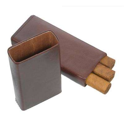 Maurya Genuine Brown Leather 3-Finger Cigar Case