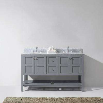 Winterfell 60 in. W Bath Vanity in Gray with Marble Vanity Top in White with Round Basin