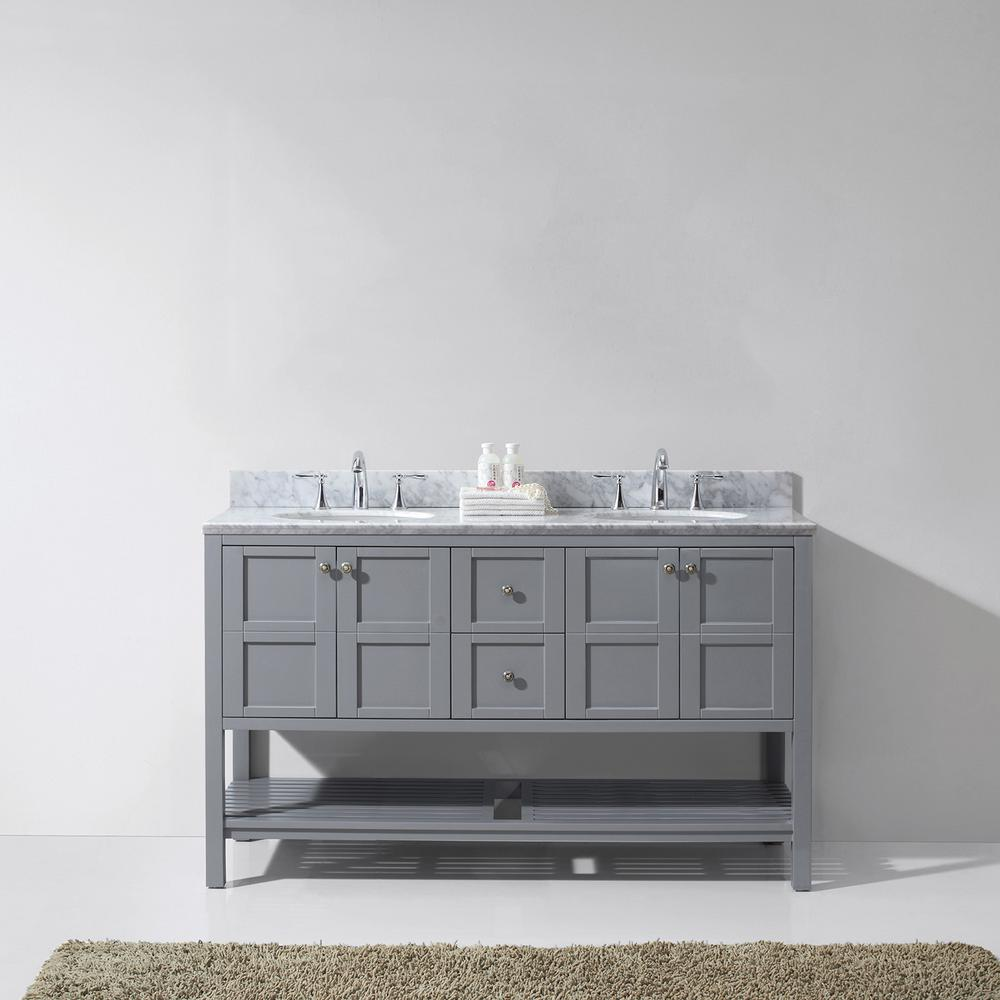 Winterfell 60 in. W x 22 in. D Vanity in Grey