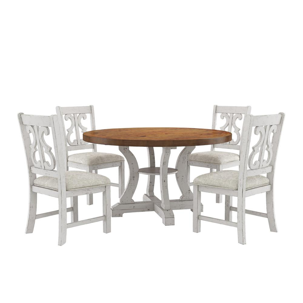 Furniture Of America Wicks 5 Piece Distressed White And Dark Oak Dining Set Idf 3417rt 5pc The Home Depot