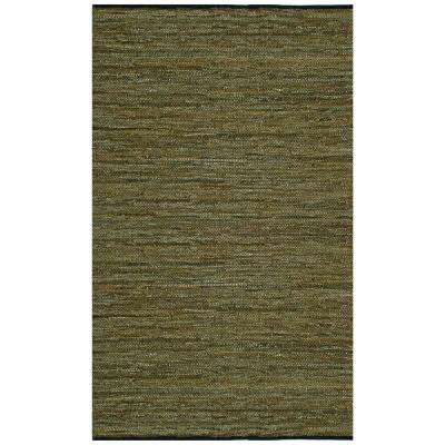 Green Leather 3 ft. x 4 ft. Area Rug