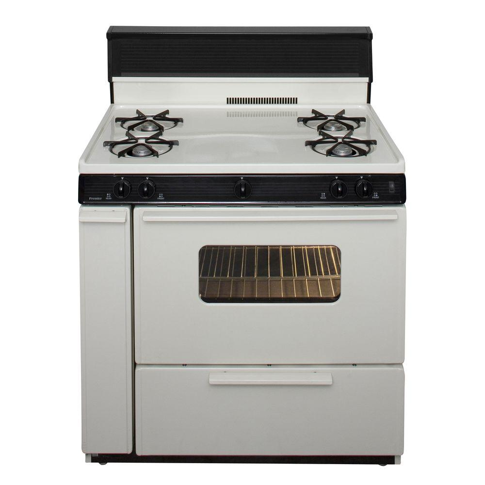 Premier 36 in. 3.91 cu. ft. Freestanding Gas Range in Biscuit