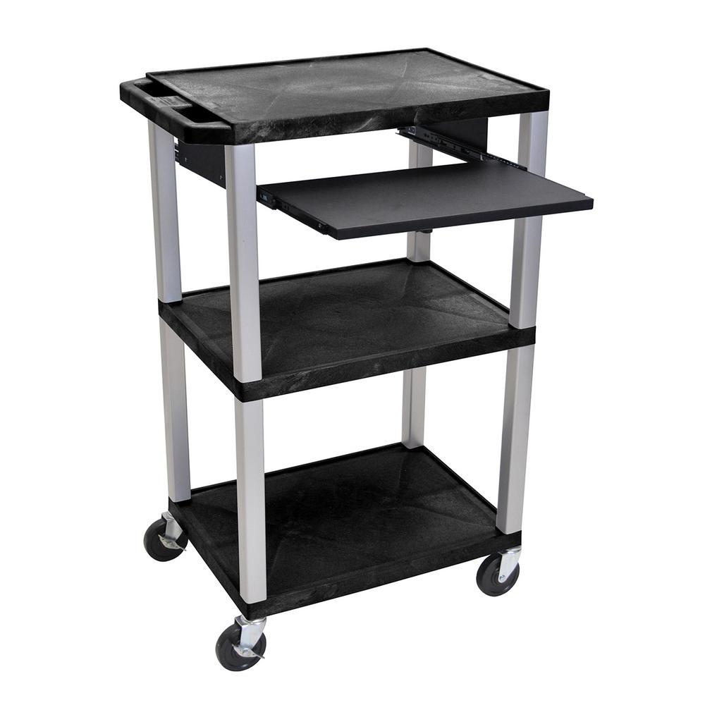 WTPS 42 in. A/V Cart Pullout Shelf W/ Electric - Nickel