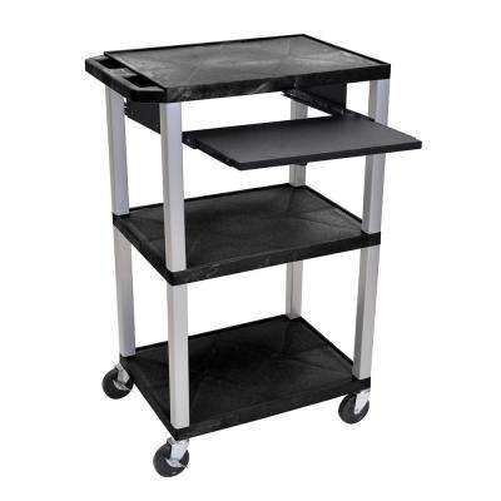 WTPS 42 in. A/V Cart Pullout Shelf W/ Electric - Nickel Legs