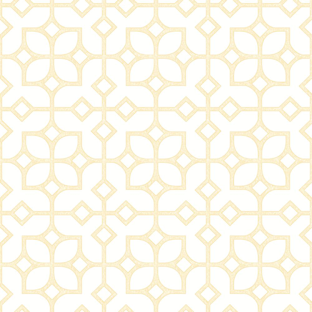 A street kinetic yellow geometric floral wallpaper 2625 for Yellow wallpaper home depot