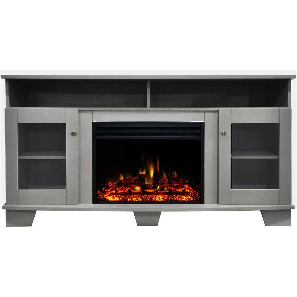 Cambridge Savona 59 In Electric Fireplace Heater Tv Stand In Gray