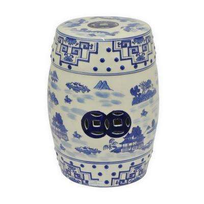 18 in. x 13 in. Blue and White Ceramic Garden Stool