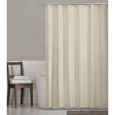 Luxury Spa Waffle 72 in. x 72 in. Fabric Shower Curtain in Taupe
