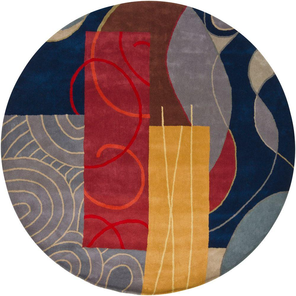 Bense Blue/Red/Gold/Grey/Brown 8 ft. Indoor Round Area Rug