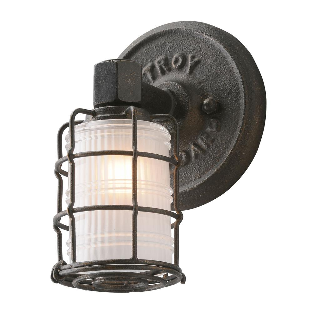 troy lighting mercantile 1light vintage bronze vanity light