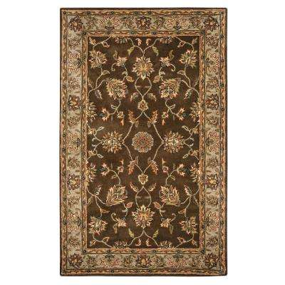 Volare Brown Border Hand Tufted Wool 3 ft. x 5 ft. Area Rug