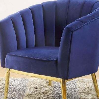 Colla Blue Velvet and Gold Finish Accent Chair