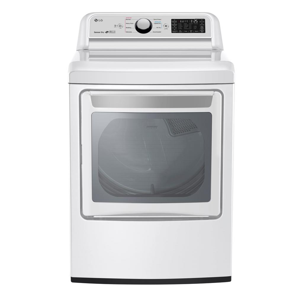 LG Electronics 7.3 cu. ft. Ultra Large Smart Front Load Electric Vented Dryer with EasyLoad Door and Sensor Dry in White, ENERGY STAR
