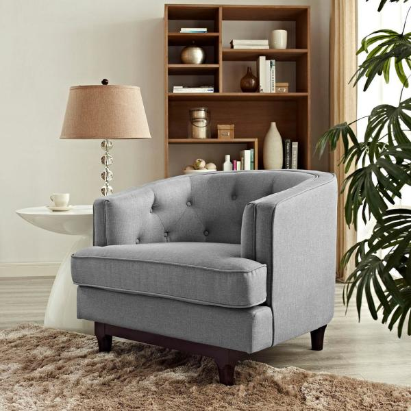 MODWAY Coast Upholstered Armchair in Light Gray EEI-2130-LGR