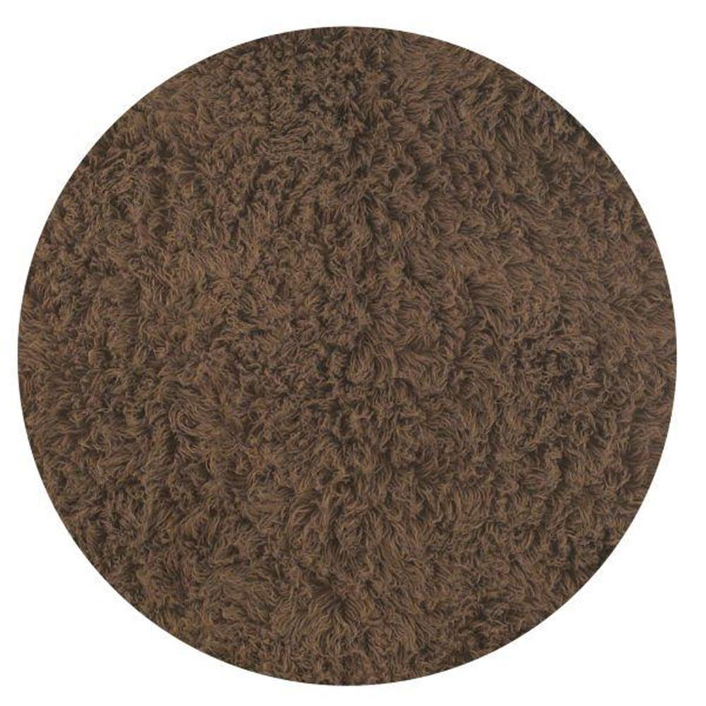 nuLOOM Genuine Greek Flokati Milk Chocolate 5 ft. x 5 ft. Round Area Rug