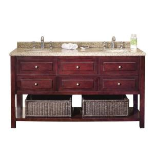 Home Depot 60 Inch Bathroom Vanity Top pegasus austen 60 in. vanity in dark cherry with granite vanity
